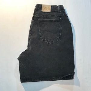 Lee high rise black denim shorts size 16L $